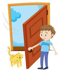Man open the door for pet cat - Download Free Vectors, Clipart ...